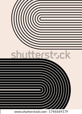 Abstract contemporary aesthetic background with geometric balance shapes, rainbow gates. Boho wall decor. Mid century modern minimalist print. Neutral Geometric art. Organic shape.