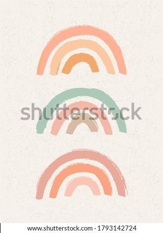 Abstract contemporary aesthetic background with geometric balance shapes, rainbow gates. Mid century modern minimalist neutral art print. Boho wall decor. Organic shape. Terracotta color, earth tone
