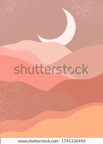 Abstract contemporary aesthetic background with landscape, desert, mountain, Moon. Earth tones, burnt orange, terracotta colors. Boho wall decor. Mid century modern minimalist art print. Organic shape