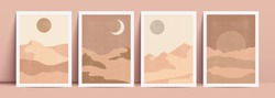 Abstract contemporary aesthetic background with landscape, desert, sand dunes and sun. Terracotta colors. Boho wall decor.