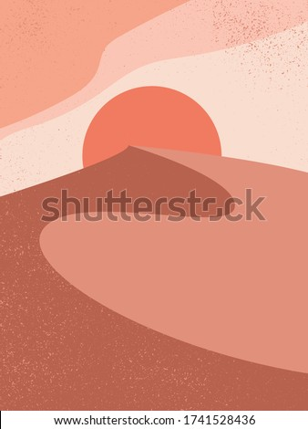 Abstract contemporary aesthetic background with landscape, desert, sand dunes, Sun. Earth tones, burnt orange, terracotta colors. Boho wall decor. Mid century modern minimalist art print.