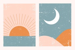 Abstract contemporary aesthetic backgrounds landscapes set with Sun, Moon, sea, mountains. Earth tones, pastel colors. Boho wall decor. Mid century modern minimalist art print. Flat abstract design.