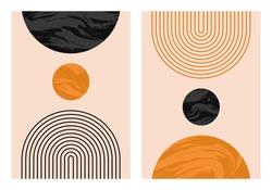 Abstract contemporary aesthetic backgrounds set with geometric balance shapes, rainbow and sun. Boho wall decor. Mid century modern minimalist art print. Organic shape.