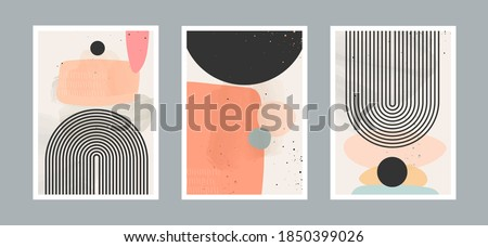 Abstract contemporary arts background with geometric balance shapes, rainbow and sun for wall decoration, postcard or brochure cover design. Vector illustrations design.  Zdjęcia stock ©
