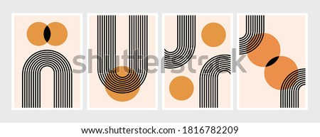 Abstract contemporary design set, with geometric balance shapes, Mid century modern minimalist art design. for art print, wall decor, book, covers, posters, flyers, magazines. Eps10 ready to print