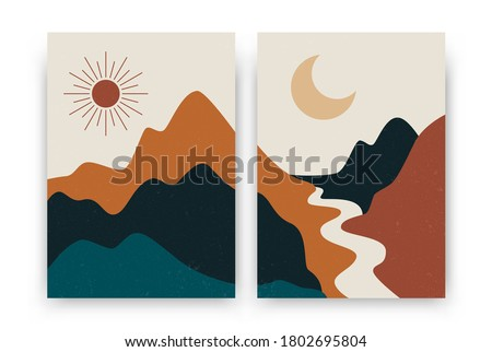 Abstract contemporary landscape posters. Modern boho background set with sun moon mountains, minimalist wall decor. Vector art print.