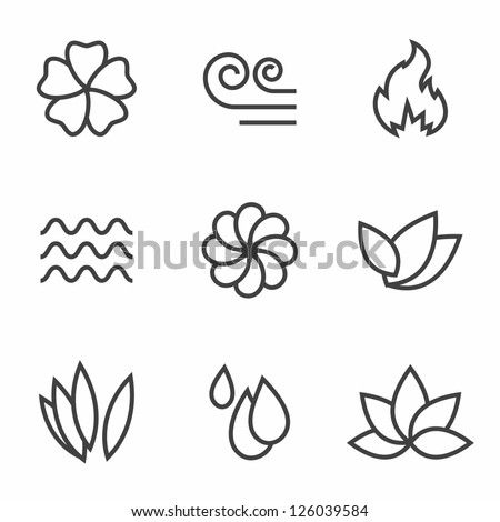 Abstract contour nature icons set