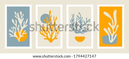 Abstract coral posters. Contemporary minimalist organic shapes Matisse style, colorful corals, graphic vector illustration. Stockfoto ©