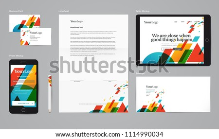 Abstract corporate identity vector mockup with basic stationary set.