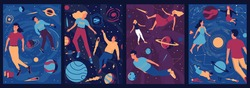 Abstract cosmos posters. People float in outer space with zero gravity. Cute men and women fly around planets and stars. Collection of cosmic psychedelic banners. Vector relaxation for mind expansion