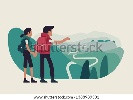 Abstract couple standing on mountain top looking forward to forthcoming journey, flat vector illustration. Hikers traveling together concept layout Сток-фото ©