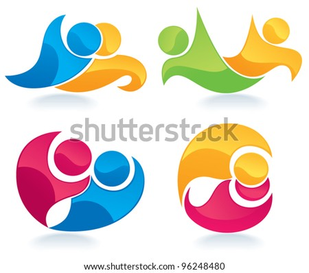 abstract couples, vector collection of peoples symbols - stock vector