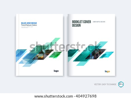 Abstract cover design, business brochure template layout, report, magazine or booklet in A4 with blue green dynamic diagonal rectangular geometric shapes on polygonal background. Vector illustration.
