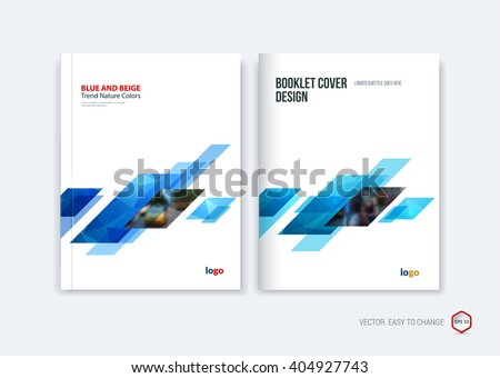 Abstract cover design, business brochure template layout, report, magazine or booklet in A4 with blue dynamic diagonal rectangular geometric shapes on polygonal background. Vector illustration.
