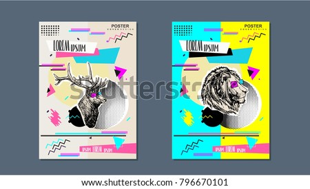 ABSTRACT COVER DESIGN POSTER. Best modern art brochure. Advertising element texture and background idea style template painting colorful illustration Banner