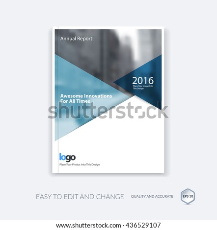 Abstract cover design template for annual report. Brochure or leaflet in A4 with blue triangular shapes for business technology in material design style with overlay effect. Vector illustration.