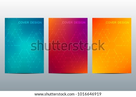 Abstract cover or poster design, with futuristic hexagonal background. Vector illustration