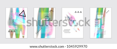 Abstract cover template with black geometric shapes. Poster with gradient neon colored  curved glow fluid shape. Liquid bright colors. #1045929970