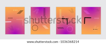 Abstract cover template with gradient design elements. Poster with geometric shapes and gradient. #1036368214