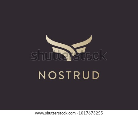 Abstract cow steak premium logo design. Creative bull horns line icon symbol. Luxury wings bird logotype.