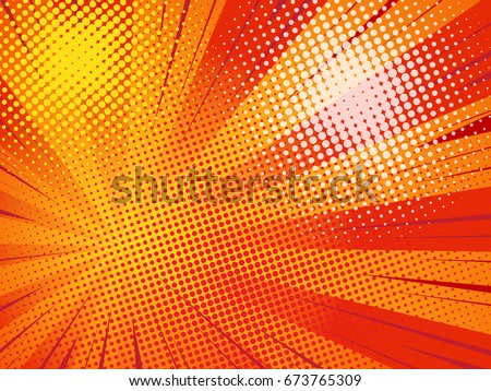 Abstract Creative concept comics pop art style blank layout. Rays and dot halftone. Vector illustration on red background.