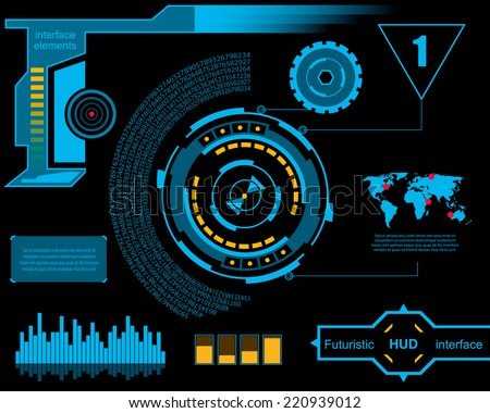 Abstract creative concept vector futuristic blue virtual graphic touch user interface HUD For web site mobile applications isolated on black background illustration design business infographic