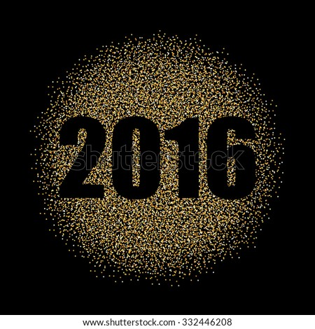 Abstract Creative concept vector gold New Year 2016 isolated on black background. For Web and Mobile Applications, art illustration template design, business infographic and social media, decoration. #332446208