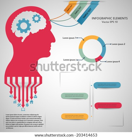 Abstract creative concept vector head siluet with gears For web and mobile application isolated on background illustration template design Business infographic and social media