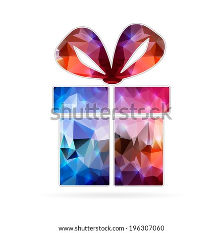 Abstract Creative concept vector icon of gift box for Web and Mobile Applications isolated on background. Vector illustration template design, Business infographic and social media, origami icons.