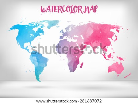 Free watercolor world map vector download free vector art stock abstract creative concept vector map of the world for web and mobile applications isolated on background gumiabroncs Gallery