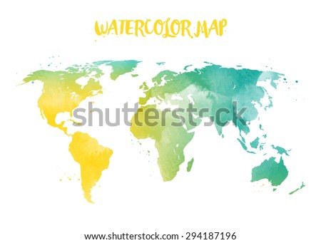 Free Watercolor World Map Vector Download Free Vector Art Stock