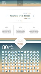 Abstract Creative concept vector one page website template isolated on background. Includes illustration interface, flat UI kit for web and UX mobile design, business infographic and social multimedia