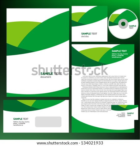 Abstract creative corporate identity line wave green