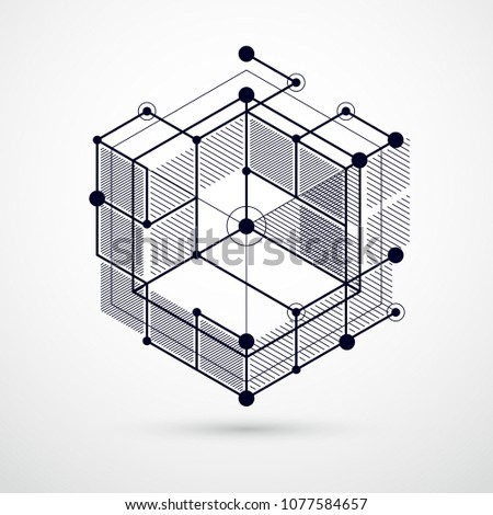 Abstract creative geometric art with a variety of geometric elements blue background, vector illustration. Perspective blueprint of mechanism, scheme. Perfect background for your designs