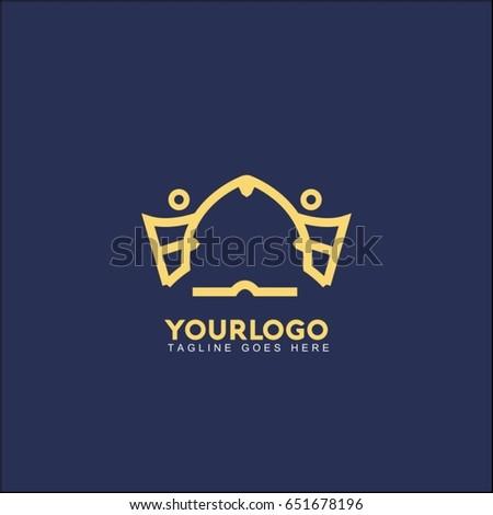 Abstract creative king crown logo. Royal Palace Vector illustration.