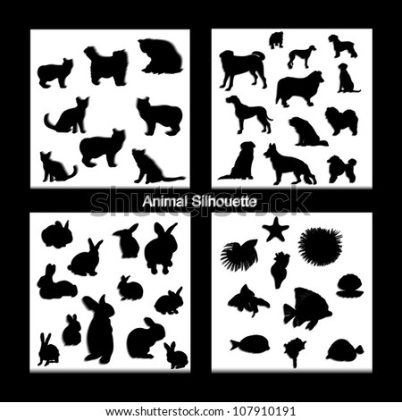 Abstract creative nature modern animal silhouette set vector background - stock vector