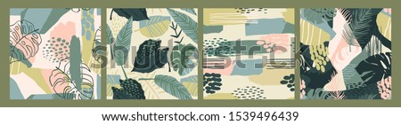 Abstract creative seamless patterns with tropical plants and artistic background. Modern exotic design for paper, cover, fabric, interior decor and other users.