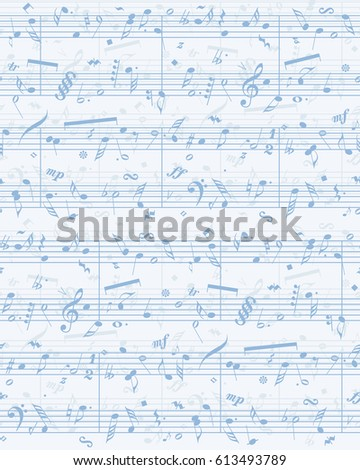 Abstract creative stave score sonata. Light blue hand drawn icons in artistic retro style on grungy old page. View closeup with space for text