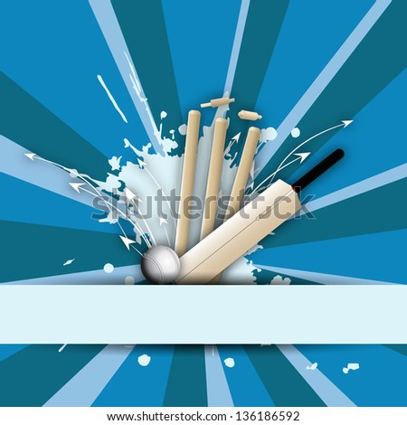 Abstract cricket concept with bat, ball and stumps.
