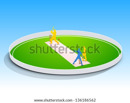 Abstract cricket concept with cricketer playing cricket in ground.