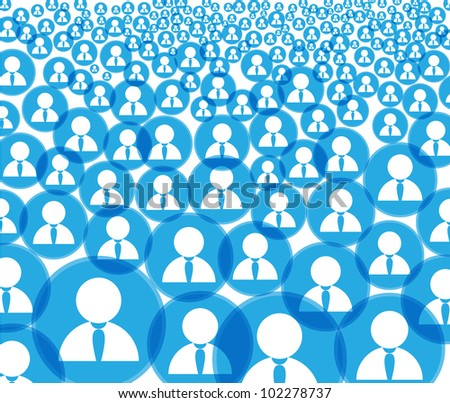 Abstract crowd of social media account icons
