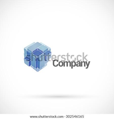 Abstract cube logo design vector template.