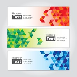 Abstract cubic banners with cubical design elements