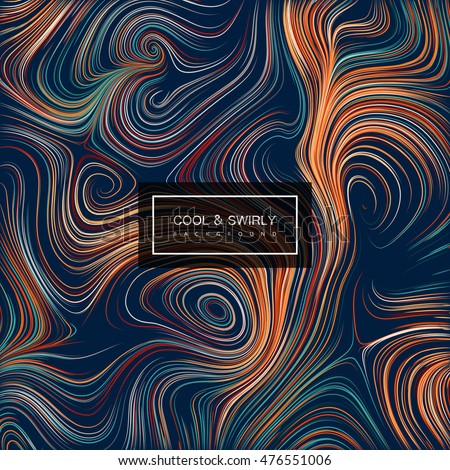 Abstract curl background with swirled stripes. Vector vintage illustration. Vortex stripes background. Marble or acrylic texture imitation. Abstract psychedelic background