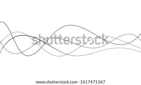 Abstract curved black long lines on white Foto d'archivio ©