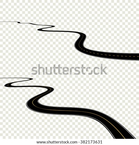 Abstract curved road asphalt, roads isolated on transparent background, winding road horizon, long road map turns. Black roadmap windings set. Vector roadtrip EPS10