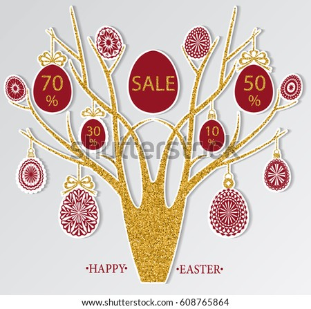 abstract cut easter tree with