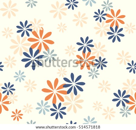 Abstract cute color flower with orange blue and cream design on white background pattern seamless backdrop wallpaper. Vector image