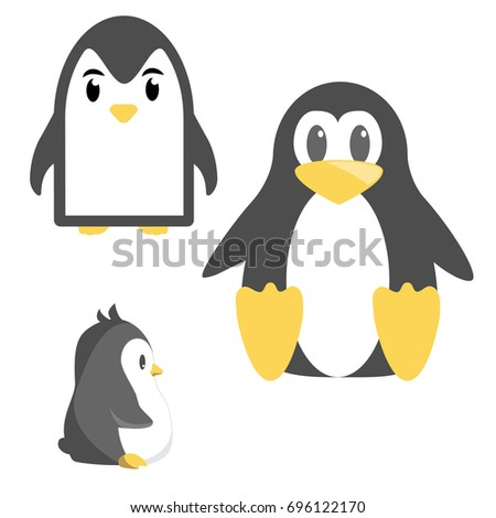 abstract cute penguins set