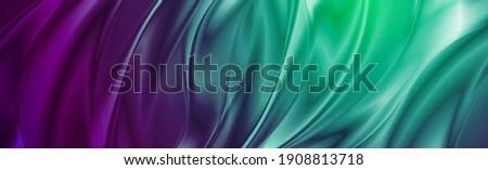 Abstract cyan violet liquid flowing elegant waves banner design. Smooth silk wavy header background. Vector tech illustration Stock photo ©